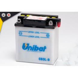 Batterie Unibat CB3L-B - Livrée avec flacons d'acide séparé.