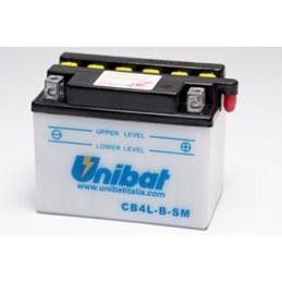 Batterie Unibat CB4L-B - Livrée avec flacons d'acide séparé.
