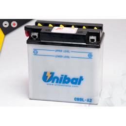 Batterie Unibat CB9L-A2 - Livrée avec flacons d'acide séparé.